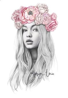 Drawing Pencil Portraits - Gigi Hadid flower crown fashion illustration by RobynToria on Etsy Discover The Secrets Of Drawing Realistic Pencil Portraits
