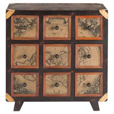 Lend a touch of vintage-inspired charm to your entryway or master suite with this handsome chest, showcasing antiqued map drawer fronts and ...