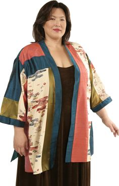 Fully lined, Tunic Length Wearable Art Kimono in a Limited Edition of Four. This unique series was created in our Studio by combining panels from a vintage silk Japanese Kimono with other fine fabrics.    ggyLutzPlus #plussizefashion #plussizemotherofthebride #plussizespecialoccasion #plussizedesignerjackets #couturefabrics      #PeggyLutzPlus #plussizefashion #plussizemotherofthebride  #plussizespecialoccasion #plussizedesigner #plussizedesigneroutlet  #plussizeartwear