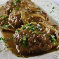 Nov 25 This Salisbury steak recipe uses ground sirloin to get a leaner meatier-tasting main dish with enough mus. Saulsberry Steak Recipes, Ground Beef Recipes, Cooking Recipes, Meatball Recipes, Easy Salisbury Steak, Salisbury Steak Recipes, Ground Sirloin, Beef Dishes, So Little Time