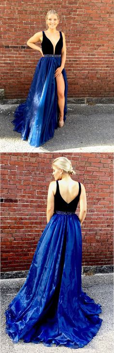 Charming A-Line V-Neck Split Front Floor Length Prom Dress With Beading+#promdresses #longpromdresses #2018promdresses #fashionpromdresses