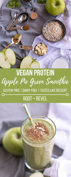 This Vegan Apple Pie Green Protein Smoothie is made with coconut milk, gluten-free oats and plant-based protein. It's perfect for Fall, tastes just like the classic dessert, but is full of Fiber, Vitamin K, Iron, Magnesium, Folic Acid and Potassium!