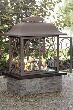 """Taos Outdoor Fireplace 23""""W x 30""""H. Metal Frame with Faux Slate Bottom.  Home Decorators Collection"""