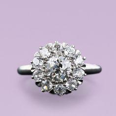 Antique Style Platinum Diamond Cluster Ring