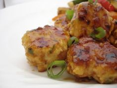 Asian chicken meatballs with teriyaki glaze