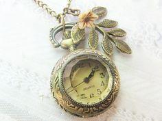 Brass Watch Necklace  Woodland Pocketwatch  Jewelry by birdzNbeez, $24.00