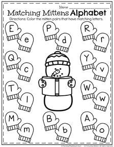 December Preschool Worksheets - Winter Mittens upper and lowercase letter matching.