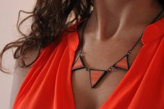 Antique look coral stained glass necklace pyramid/ by CurlyWay