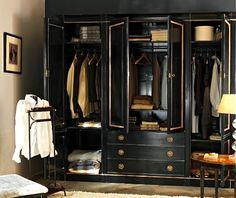 Black and gold closet