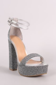Bamboo Foiled Metallic Fabric Clear Ankle Strap Platform Heel