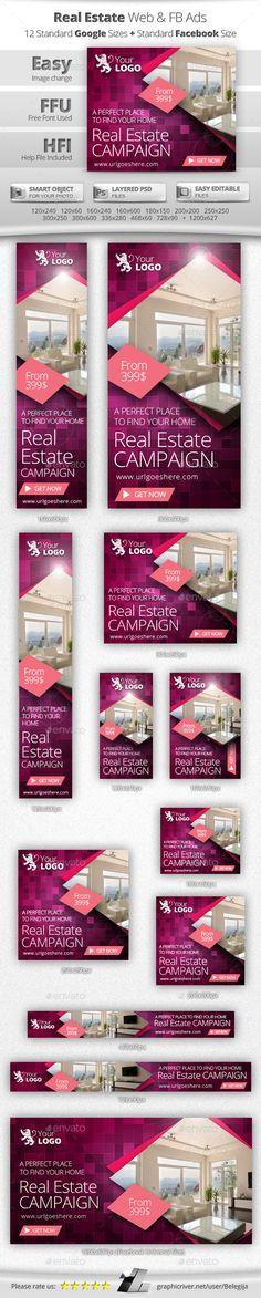 Real Estate Web Banners Template PSD #banner #webbanner #design Download: http://graphicriver.net/item/real-estate-web-banners/10642832?ref=ksioks