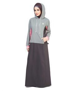 Crafted polyester and cotton grey sporty abaya jilbab islami giyim, abaya m Islamic Fashion, Muslim Fashion, Modest Fashion, Modest Dresses, Modest Outfits, Modest Clothing, Modest Wear, Hijab Style, Abaya Style