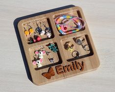 Earring holder for kids free personalization. Gift for