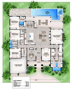 Florida Mediterranean House Plan 75970 Level One                                                                                                                                                      More