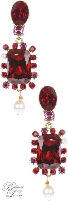 Brilliant Luxury * Oscar de la Renta Bold Crystal Pearl Drop Multi Stone Earrings