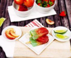Boozy Strawberry, White Peach & Lime Layered Margarita Popsicles