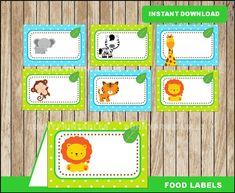 printable Safari baby shower tent cards, Safari party food tent cards instant d Spongebob Birthday Party, Jungle Theme Birthday, Jungle Party, Baby Party, Safari Party Foods, Safari Food, Party Labels, Food Labels, Safari Cupcakes