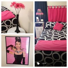 Perfect for a girl's dorm room! Pink Black and White Dorm Room Set by JandDsJewelryandMore on Etsy, $100.00