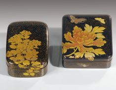 A SMALL LACQUER WRITING BOX AND COVER (SUZURIBAKO) AND A LACQUER INCENSE BOX (KOBAKO), JAPAN, EDO PERIOD, 19TH CENTURY