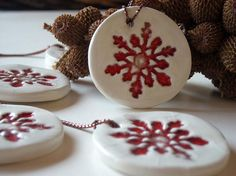 sculpey clay, snowflake stamp and red paint