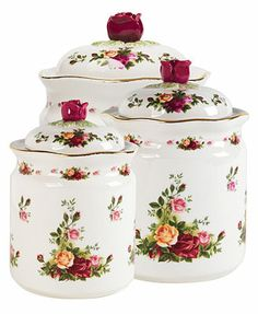 "Royal Albert ""Old Country Roses\"" Canisters, Set of 3"