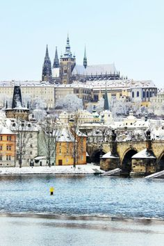 Snow in Charles bridge, Prague, Czech Republic