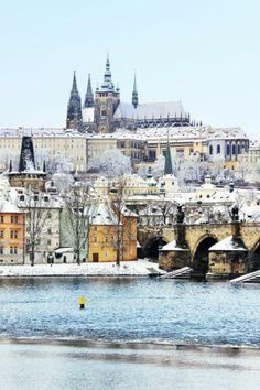 Snow in Charles bridge, Prague, Czech Republic