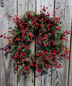 """Holiday Berry Wreath - Christmas Wreath  -  Front Door Wreath - Winter Wreath - """"Berries Wild"""".via Etsy."""