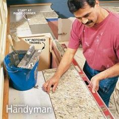 How to Install Granite Tile Countertops (Kitchen Tile) - - Granite tile gives you the appearance of a solid-stone slab at one-third the cost. We'll show you the techniques for a first-rate job.