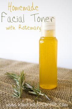Homemade facial toner with rosemary- and I have leftover rosemary too. I'd love to make this.