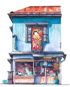 插畫師 Mateusz Urbanowicz 畫筆下的日本老舊店面,一張張的水彩插畫彷彿讓你置身東京小巷內 - PopDaily 波波黛莉的異想世界