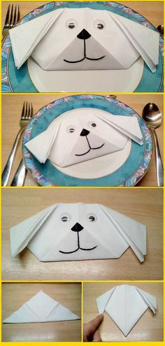 💘 Napkins Fold Instructions 👈 - Dog Head Dog Animal Easy Fold With Ki . 💘 napkin folding instructions 👈 – dog head dog animal easy fold with children napkin fold f Diy Wedding Napkins, Wedding Napkin Folding, Paper Napkin Folding, Christmas Napkin Folding, Christmas Napkins, Cloth Napkins, Paper Napkins, Diy Crafts To Do, Easter Table Decorations