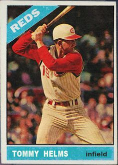 Tommy Helms was the 1966 NL Rookie of the Year. He played for the Reds until the 1972 season when he was traded for the 1965 NL Rookie of t. Old Baseball Cards, Baseball Photos, Baseball Games, Sports Baseball, Baseball Players, Mlb Players, Baseball Stuff, Football, Mlb Uniforms