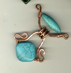 Two Tiered Copper and Turquoise Pendant | JewelryLessons.com