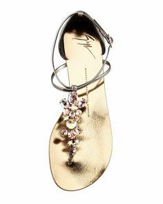 Giuseppe Zanotti Jeweled Thong Sandal, Pewter .  http://www.bergdorfgoodman.com/Giuseppe-Zanotti-Jeweled-Thong-Sandal-Pewter/prod85800195/p.prod?cmCat=Wishlist