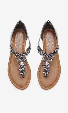 Gunmetal T-strap leather sandals. bejeweled and so lovely//