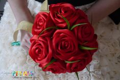 Gorgeous Red Ribbon Rose Wedding Bouquet Handmade by CuriousPetals, £25.00