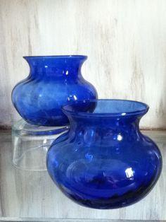 2 Colbalt Blue Vases, Vintage. $8.25, via Etsy.