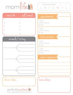 "Free Printable Daily Planner for Moms  Download a free printable daily planner for moms. This planner is two-sided, with one ""mom-life"" side and one ""biz-life"" side."