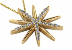 Starburst Pave Set Round Cubic Zirconia Pendant in 14k yellow gold by Ziamond. #ziamond #starburst #pendant #14kyellowgold