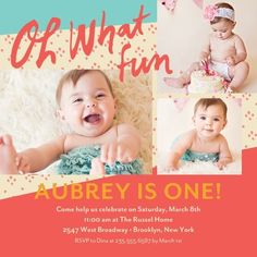 I like the colors, coral, turquoise and light yellow/beige. First Year Fun: Coral - Birthday Party Invitations in Coral | Petite Alma