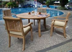 "New 5 Pc Luxurious Grade-A Teak Dining Set - 52"" Round Table and 4 Stacking Arm Chairs [Model:ABg] by WholesaleTeak. $779.99. Chair Dimension: 24"" Width x 22"" Depth x 35"" Height. ADD SUNBRELLA FABRIC CUSHIONS BY SEARCHING ""Wholesaleteak Dining Cushion"" ON AMAZON, CUSTOM MADE FOR THESE STYLE CHAIRS. Table Dimension: Table:52"" Round Table, 30.5"" H. The chairs are stackable for easy storage.. 52"" Round Table and includes umbrella hole in the center of table.. Set includes: ..."