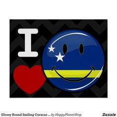 Glossy Round Smiling Curacao Flag Poster