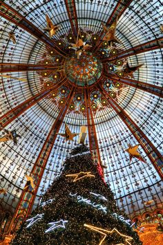 The dome of the famous department store Les Galeries Lafayette in Paris.