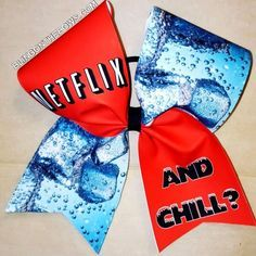 NETFLIX AND CHILL CHEER BOW | bling on the bows custom cheer bows