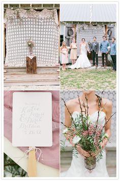 Program fans again! and I like the plain white blanket kind of background! Farm Wedding, Chic Wedding, Wedding Details, Rustic Wedding, Wedding Ceremony, Reception, Wedding Blush, Cute Wedding Ideas, Wedding Inspiration