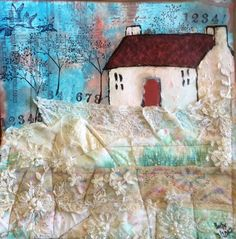 """Barbs Mey The Craftroom Mixed Media Collage """"Petticoat Cottage"""""""