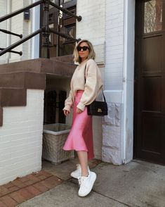 10 Slip Skirts You Need For Spring - The Fashionably Broke - Silk skirt outfit - Pink Midi Skirt, Midi Skirt Outfit, Satin Midi Skirt, Winter Skirt Outfit, Skirt Outfits, Silk Dress, Mode Outfits, Fall Outfits, Casual Outfits