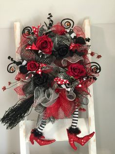Witch wreath, Halloween wreath, Wicked witch of the East wreath, wizard of oz…