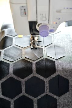 Modern Handcraft / Modern Hexies, pleather applique pillow: A Tutorial